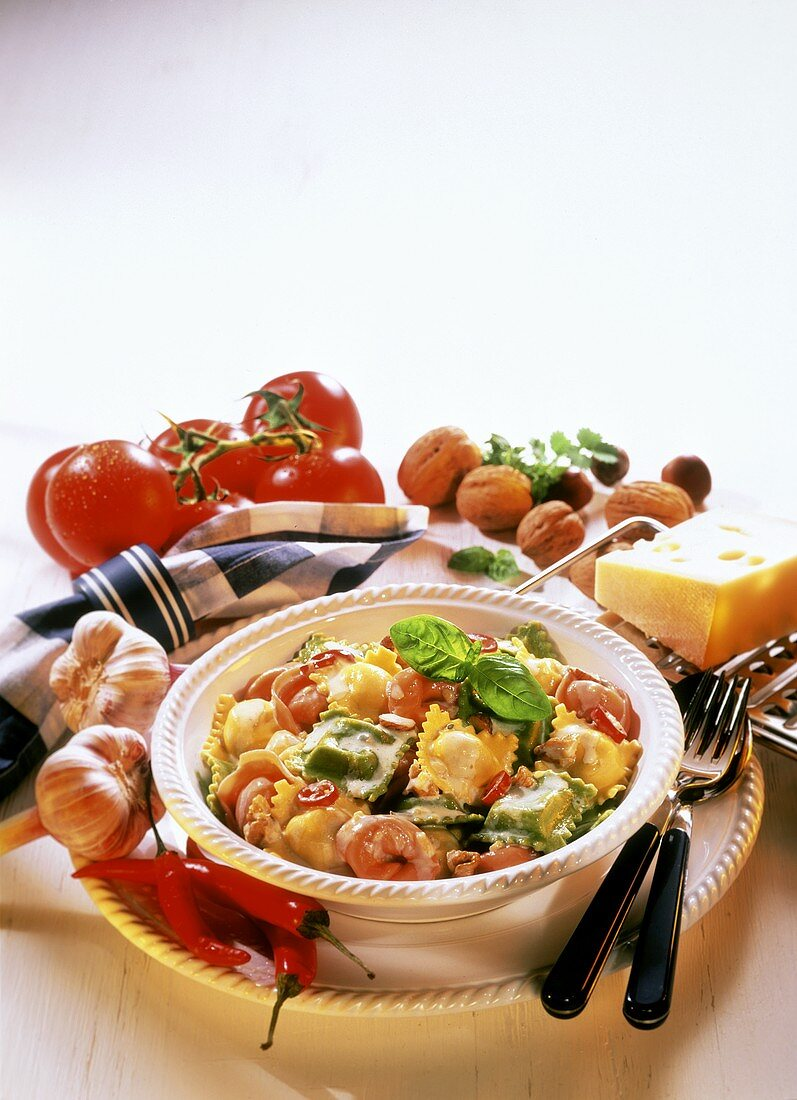 Mixed tortellini with cream sauce, walnuts & chilis