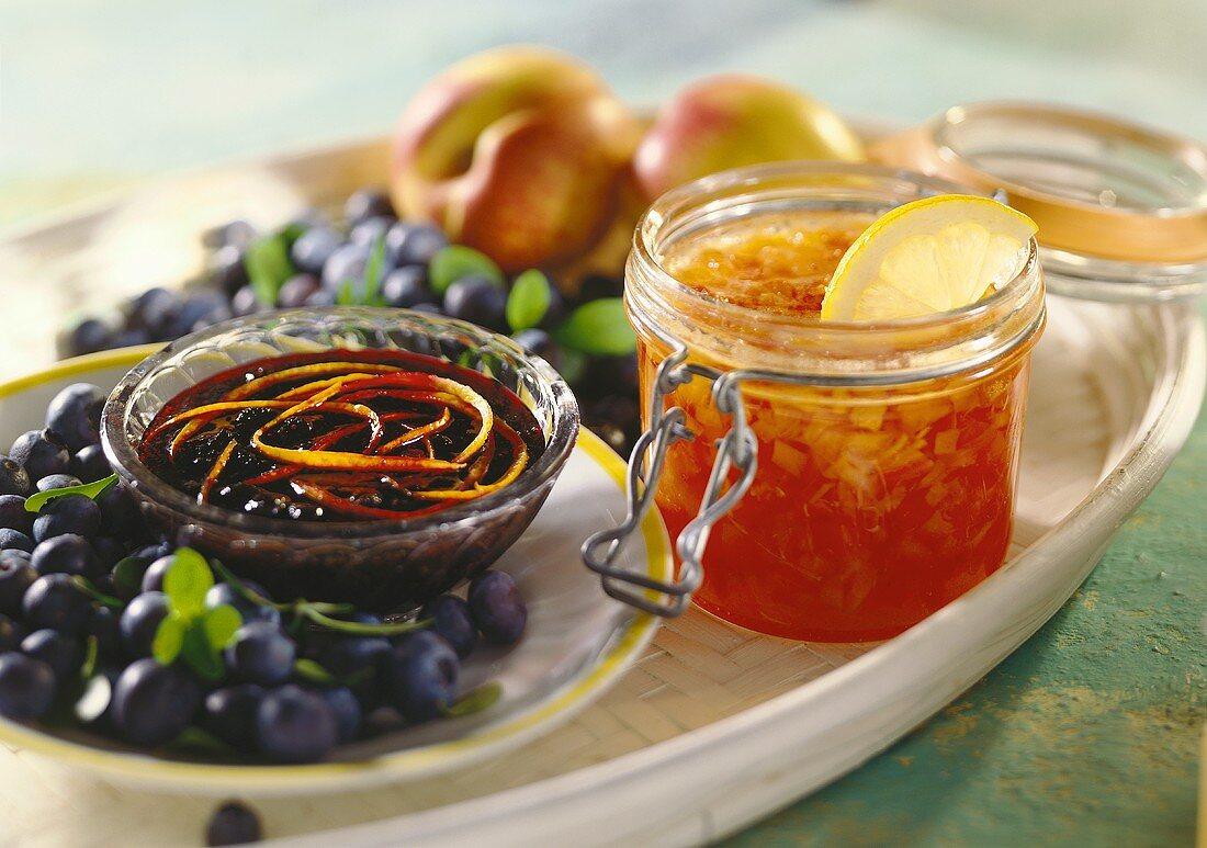 Nectarine and papaya & blueberry and cassis jam