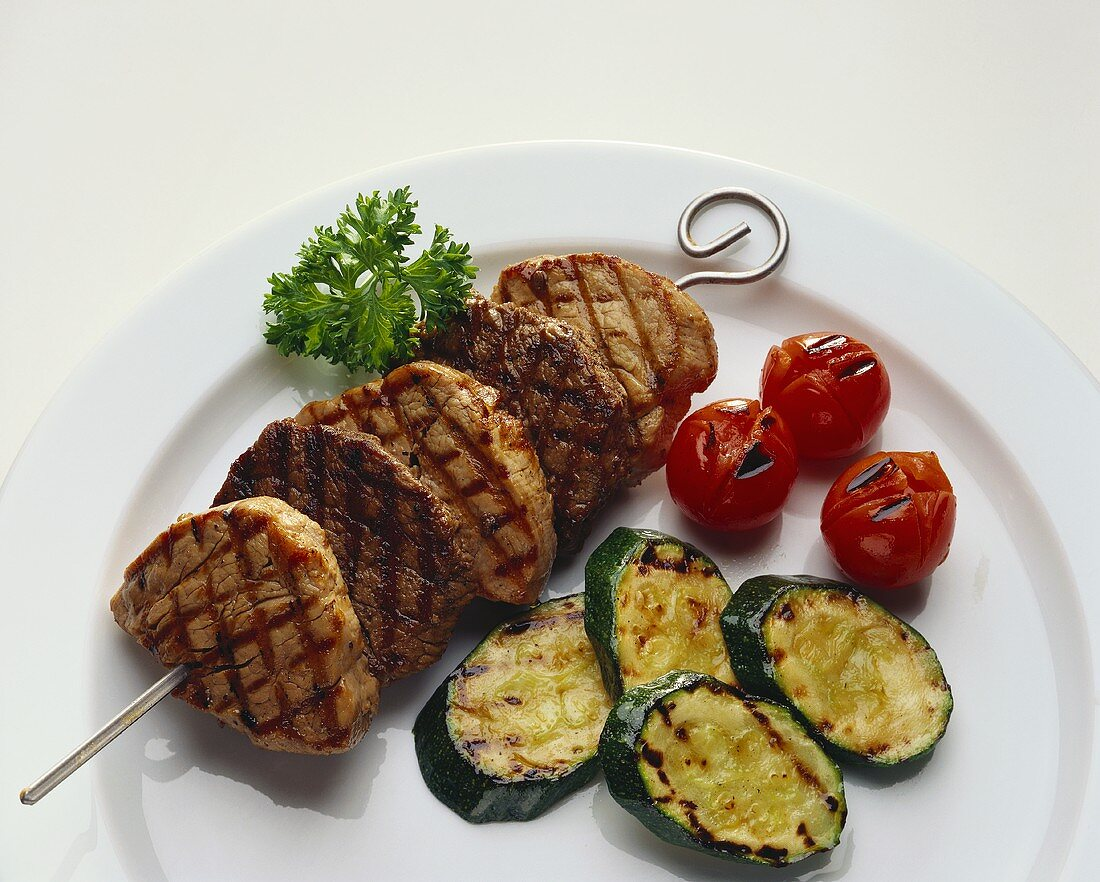 Kebabs with grilled beef and pork medallions