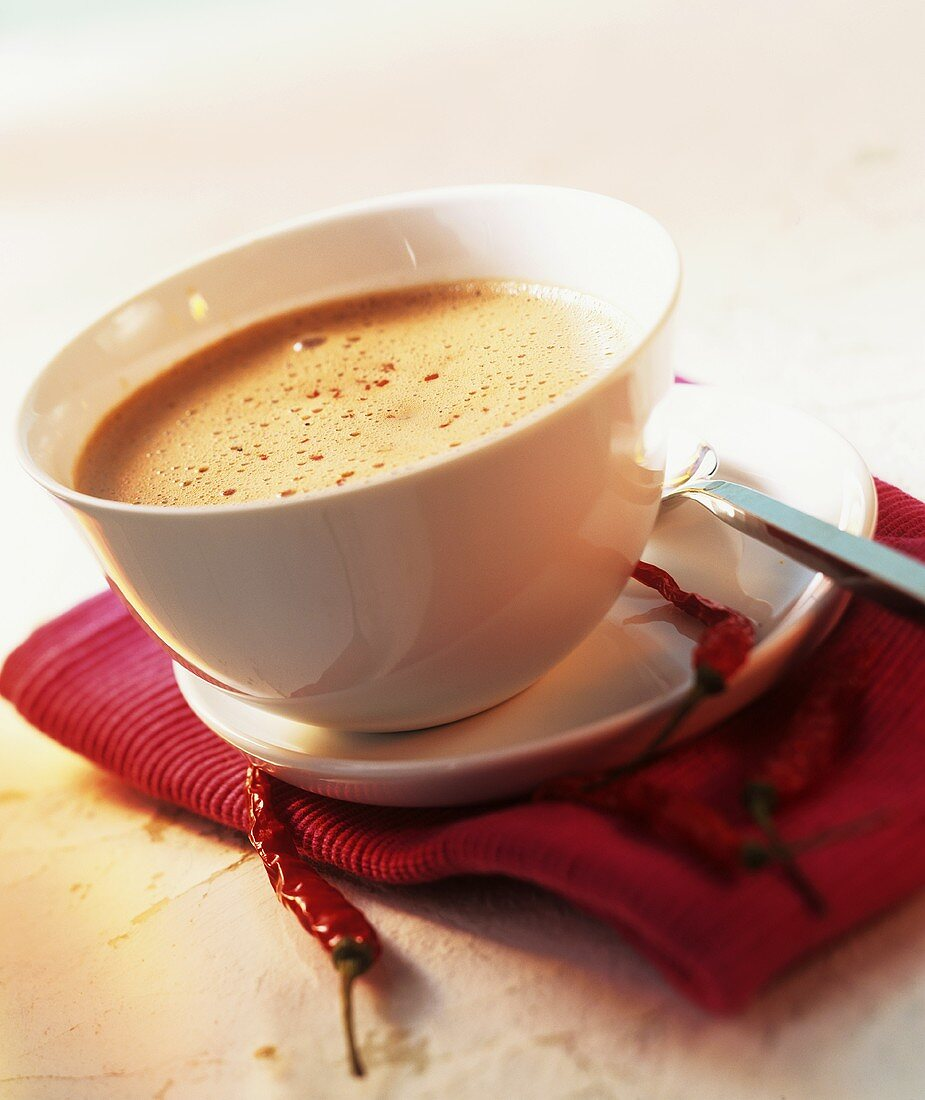 Hot chocolate with chili pepper