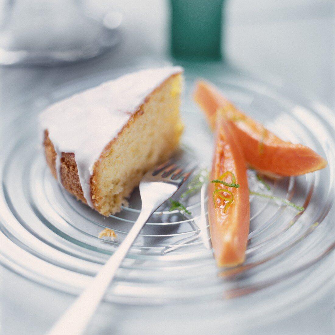 Lime cake with papaya