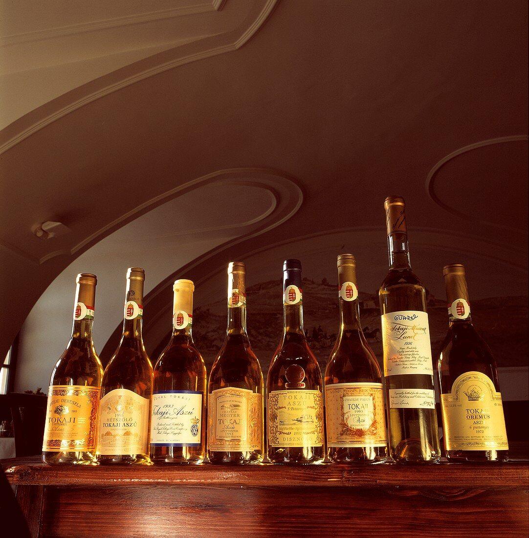 Various bottles of Tokay, the Hungarian dessert wine