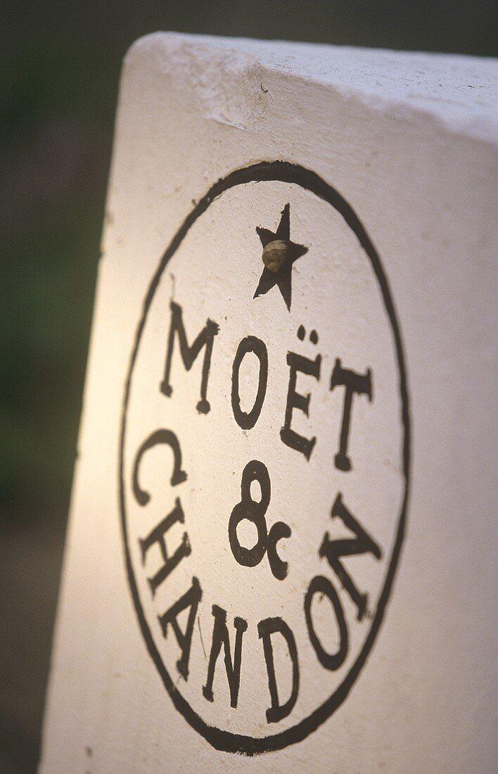 Boundary stone in Moet & Chandon vineyard, France
