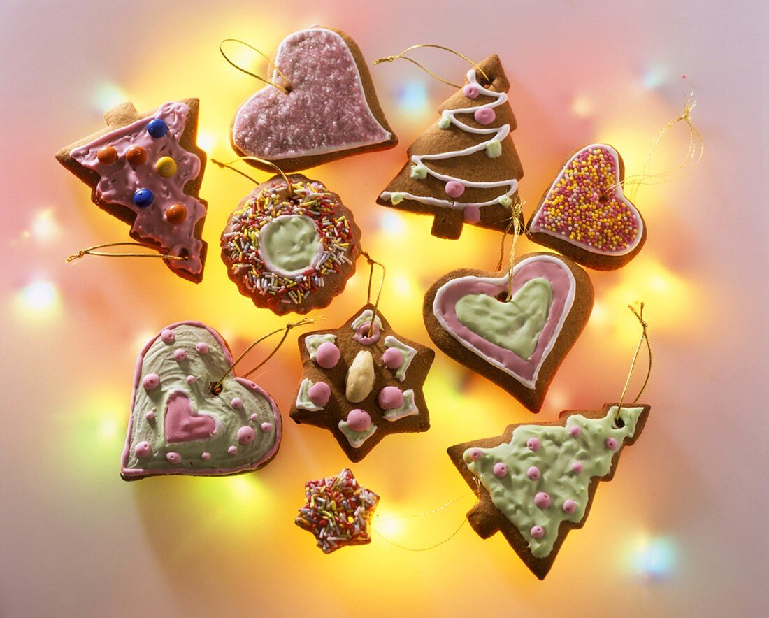 Various gingerbread Christmas tree ornaments