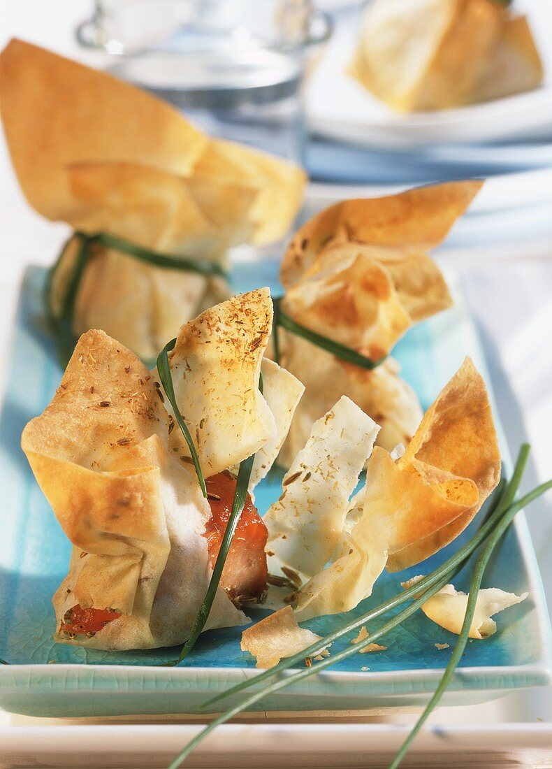 Filo pastry bags with salmon filling