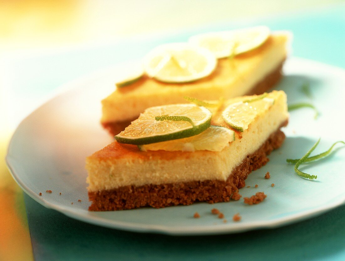Two lime and semolina slices