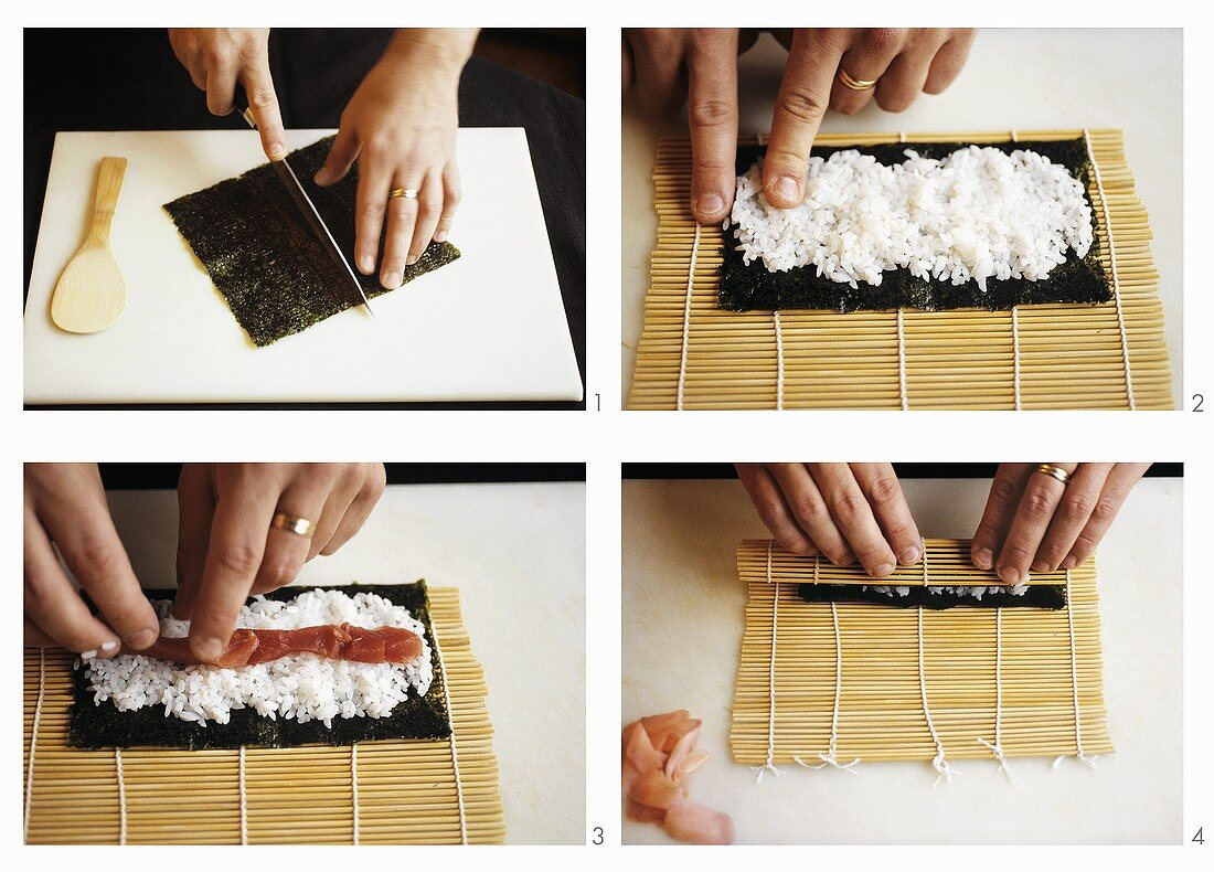 Making maki-sushi, part 1: spreading & rolling the nori sheet
