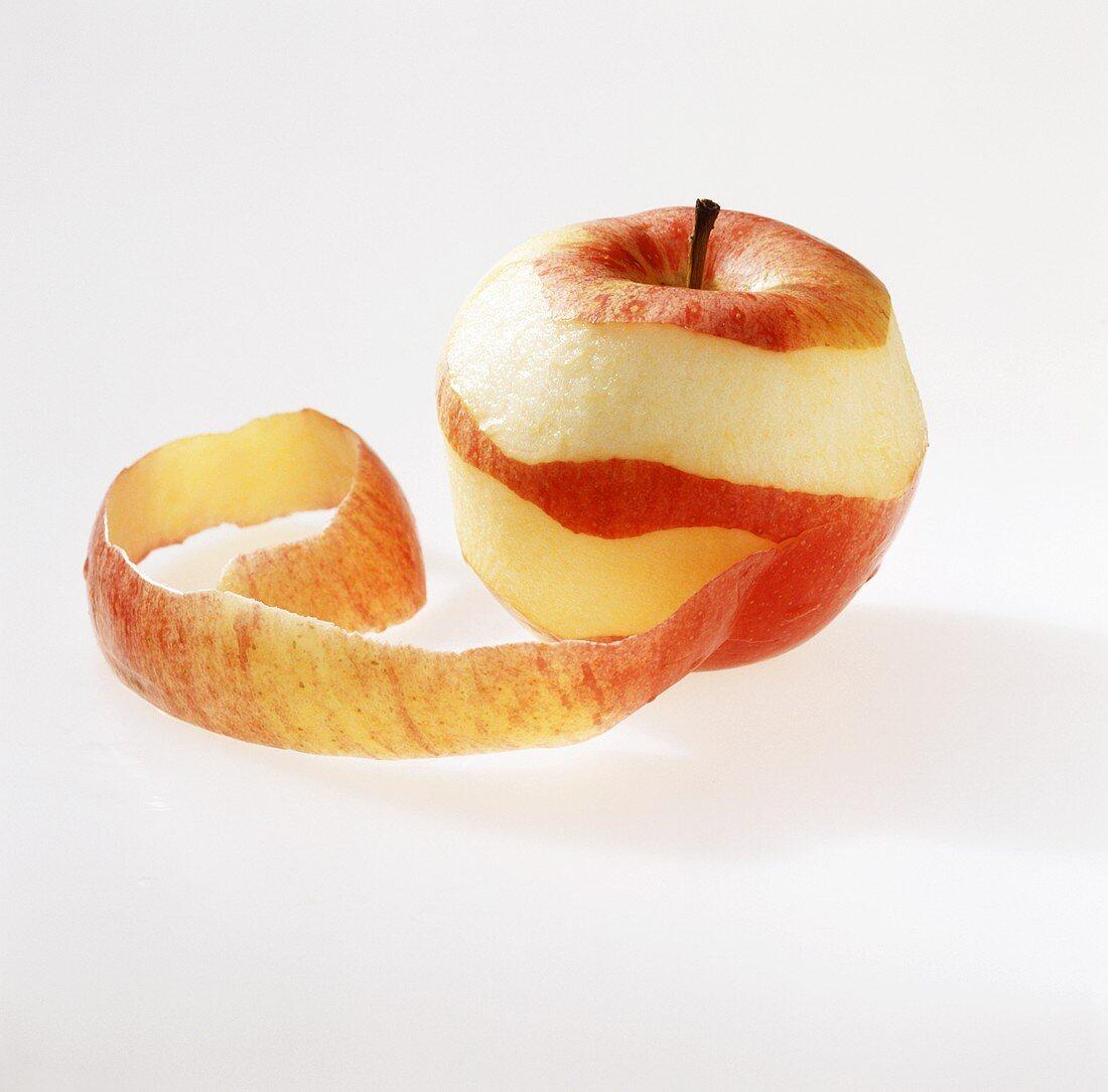 Peeling a Braeburn apple in a spiral