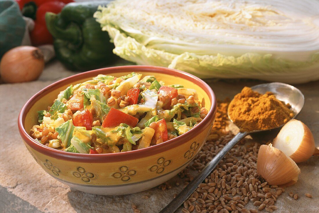 Warm Chinese cabbage and wheat salad