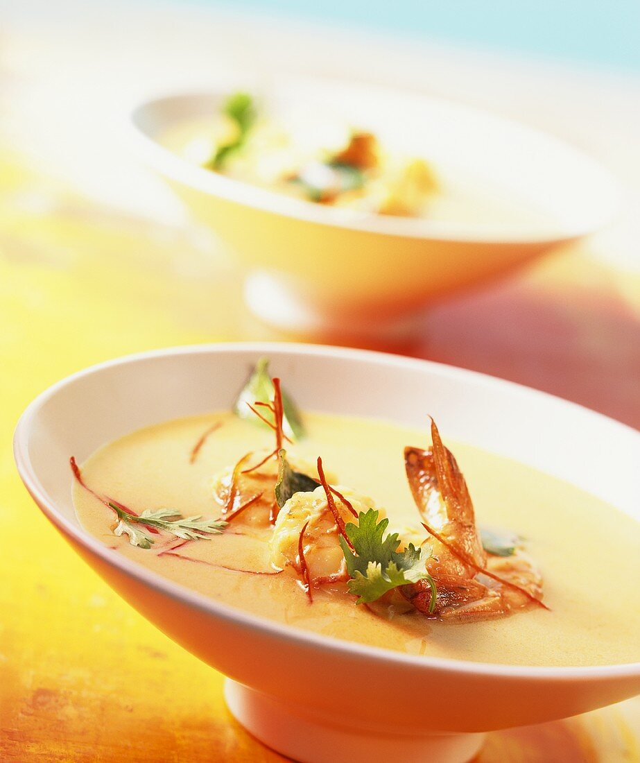 Thai shrimp soup with curry and coconut milk