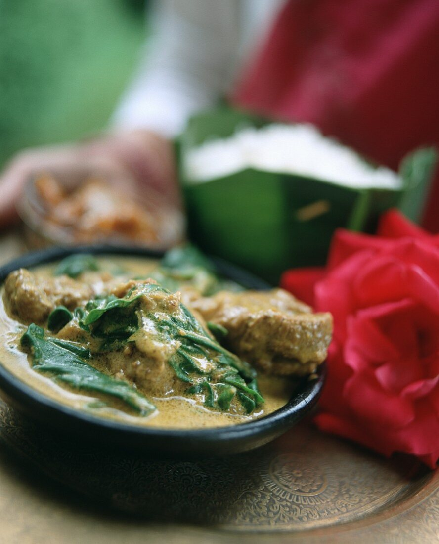 Indian lamb curry with spinach