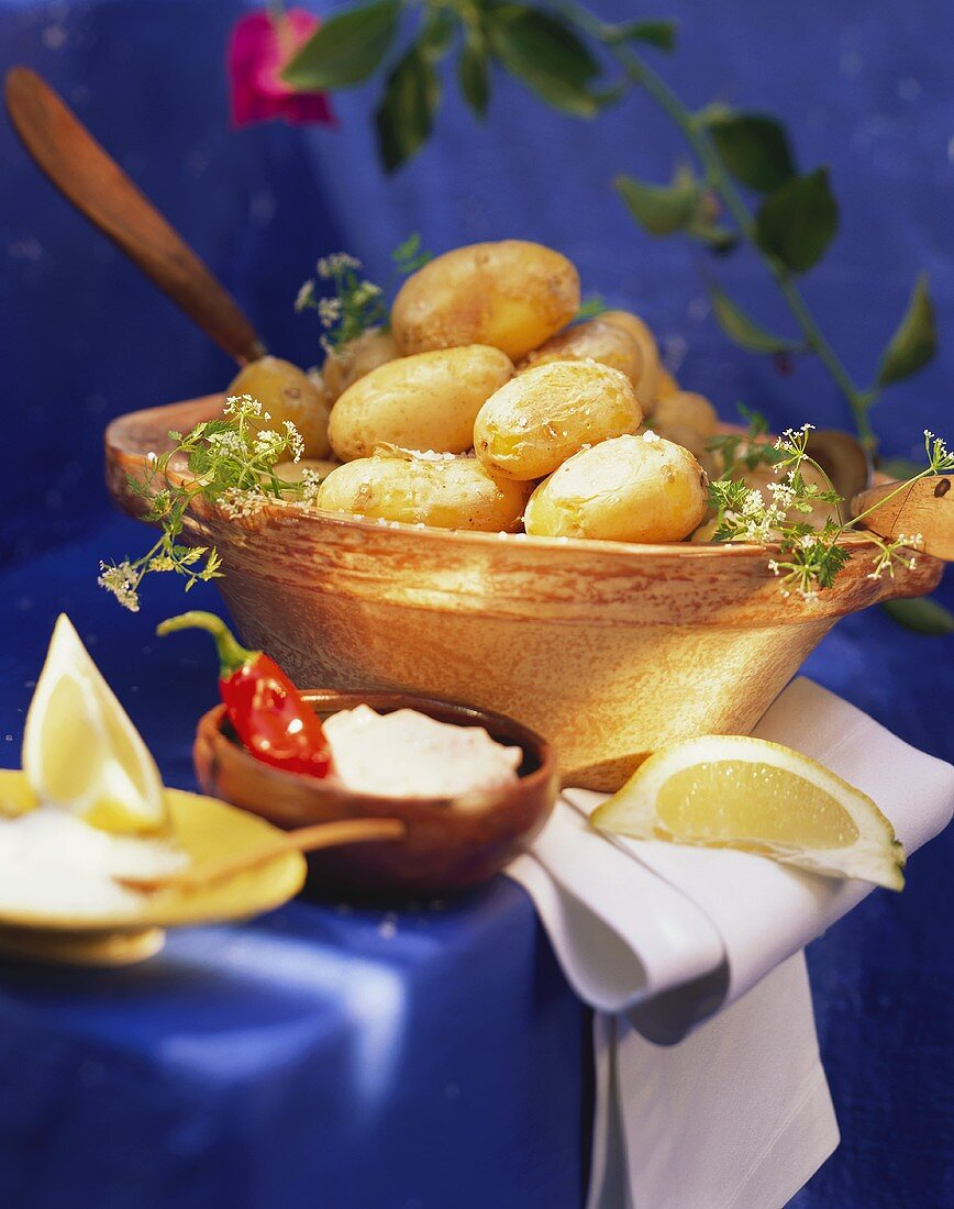 Canarian boiled potatoes with salt and chili sauce