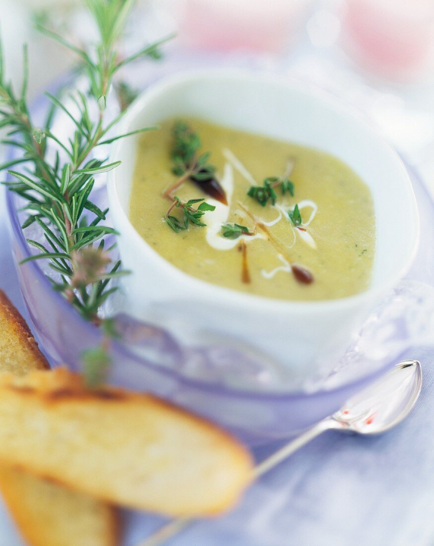 Cream of potato soup with herbs