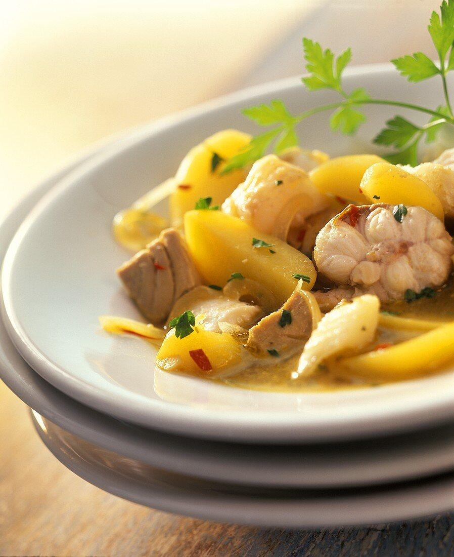 Fish and potato stew with saffron