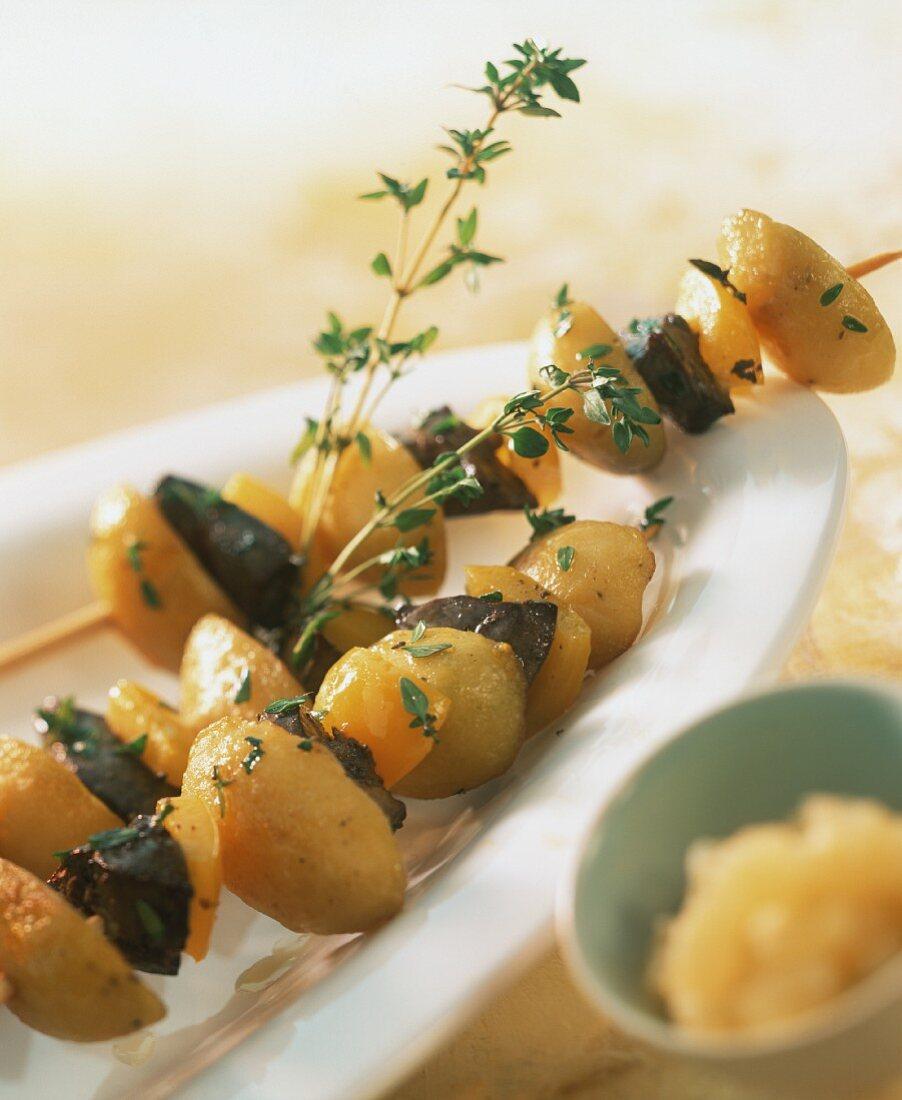 Potato and turkey liver kebabs