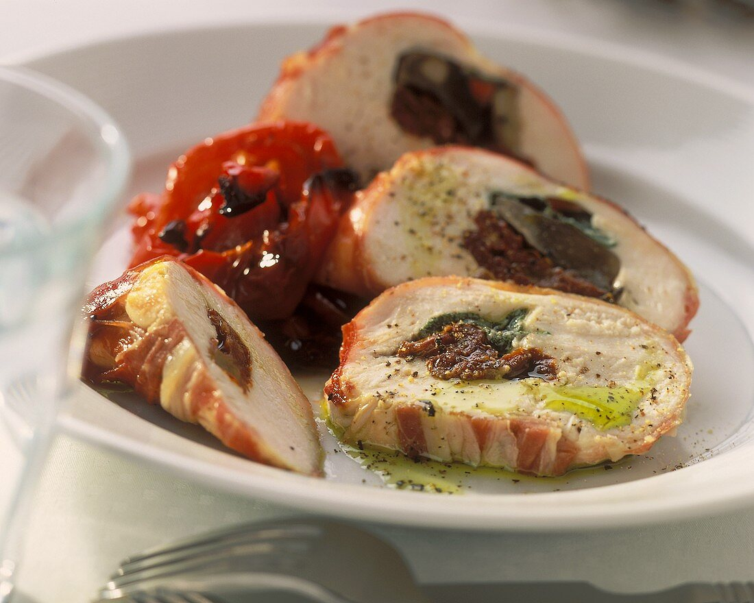 Poularde breast stuffed with dried tomatoes, with peppers