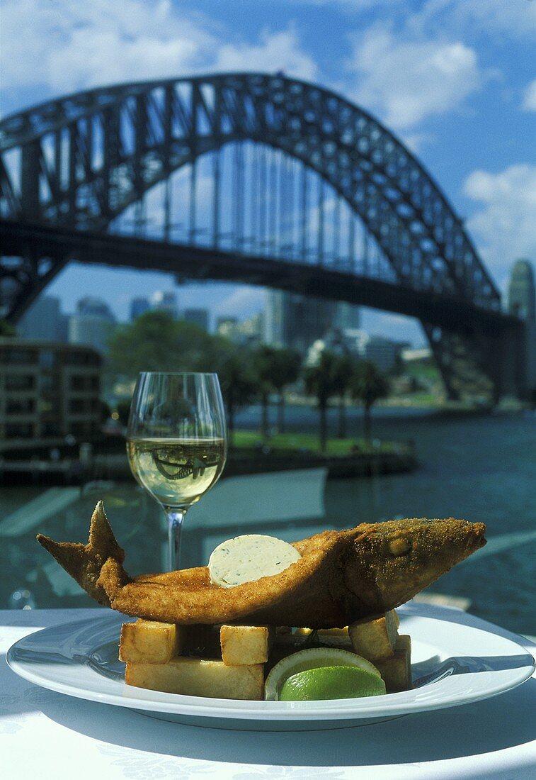 Fish & chips, Sydney Harbour Bridge in background