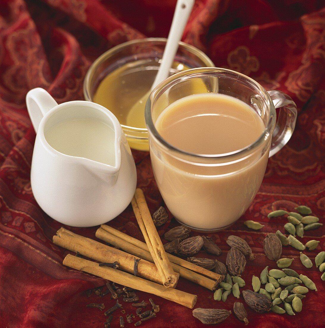 Yogi tea (Ayurvedic spiced tea) with milk and honey