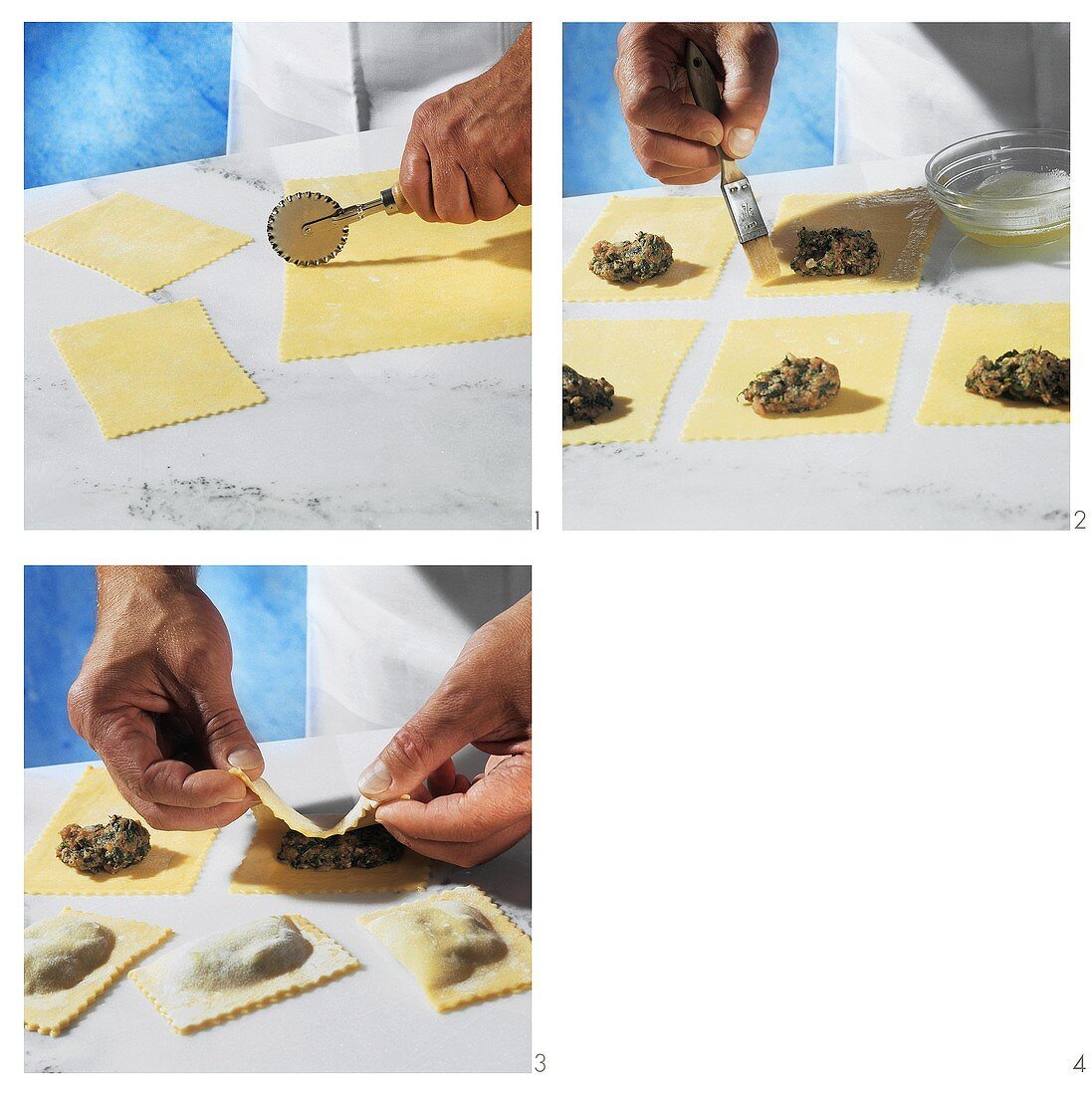 Making ravioli with mince filling