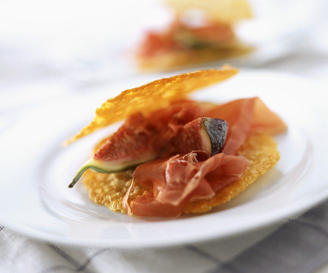Antipasto con cialde di parmigiano (Filled Parmesan wafers)
