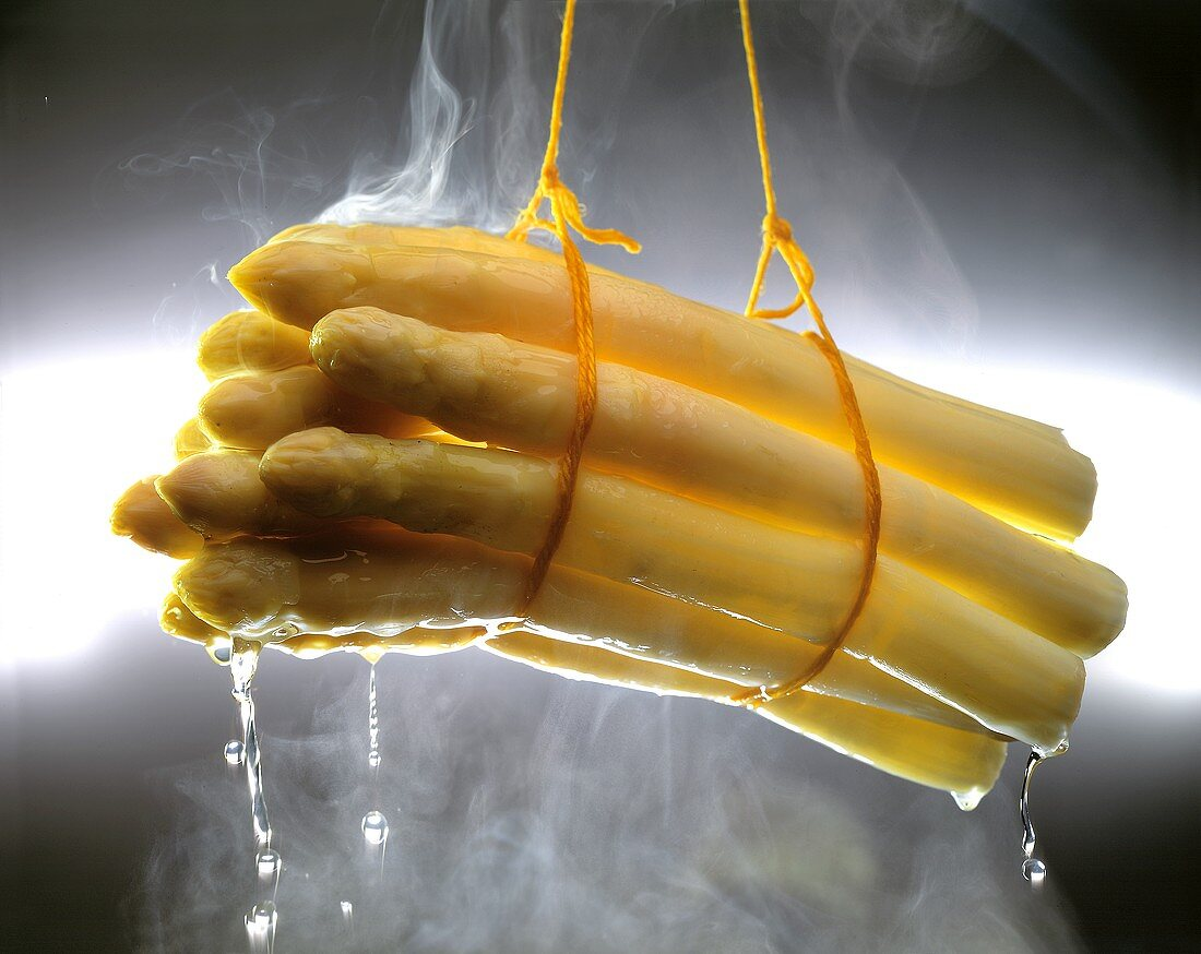 A bundle of boiled white asparagus being lifted out of pan