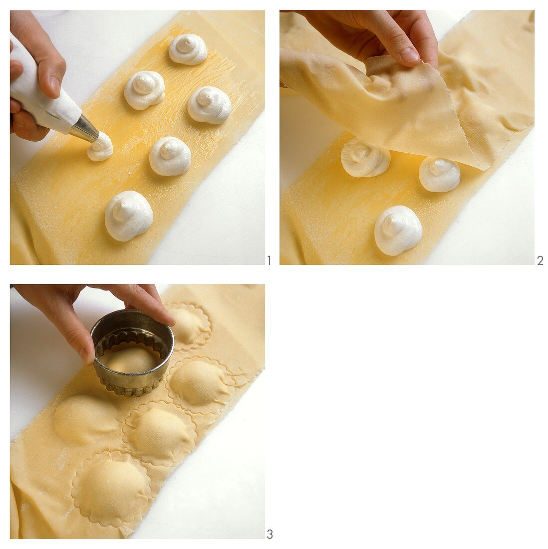 Making sweet quark-filled pasta envelopes (Maultaschen)