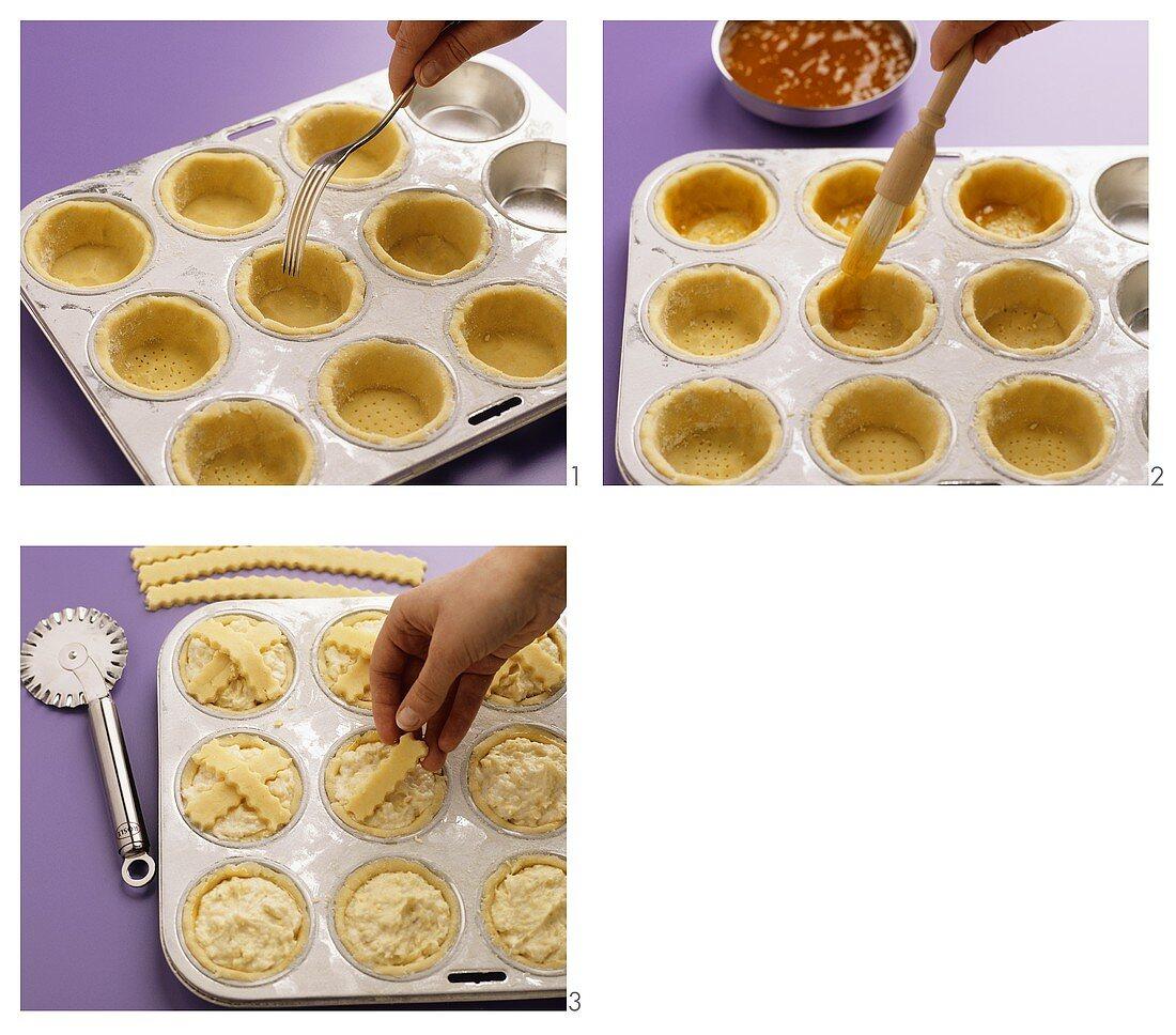 Making Leipzig larks (almond tarts)