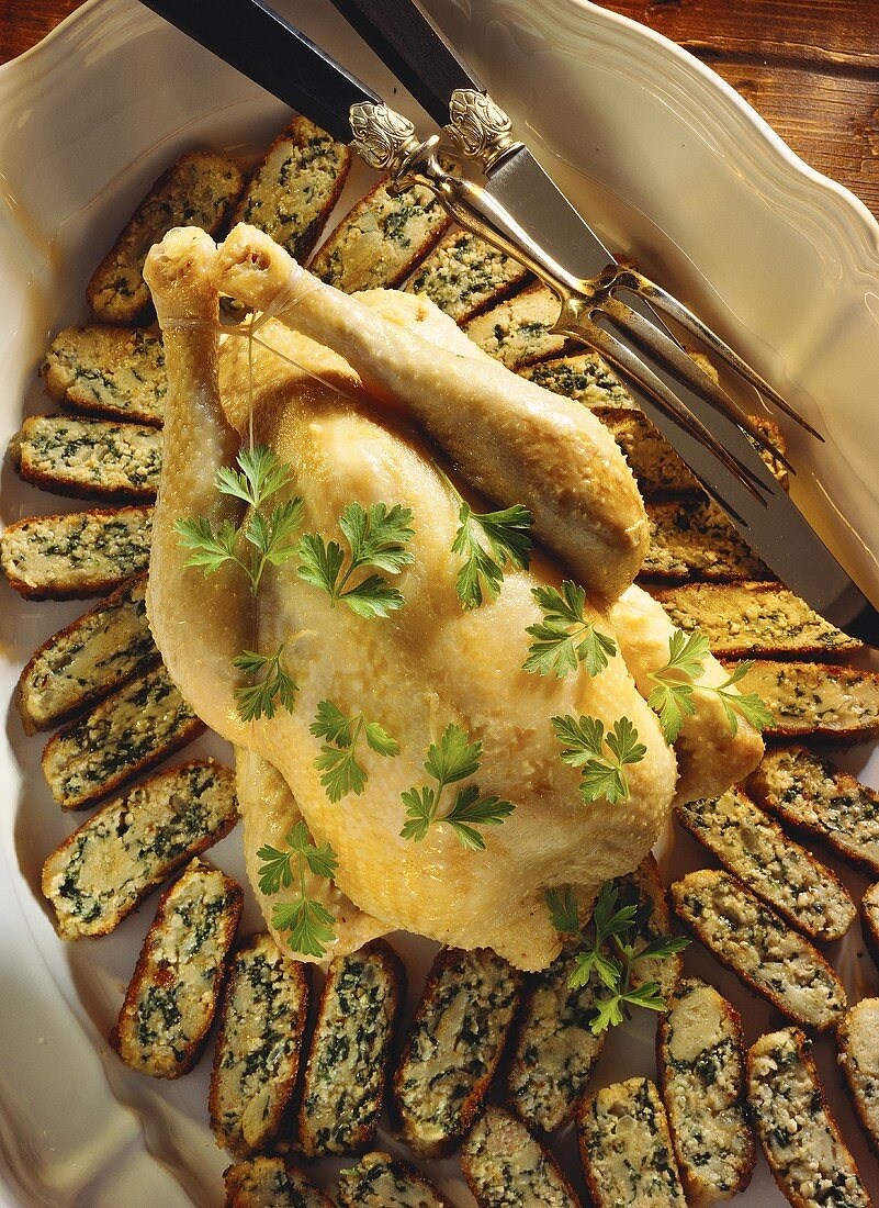 Poule verte (poularde with spinach stuffing)