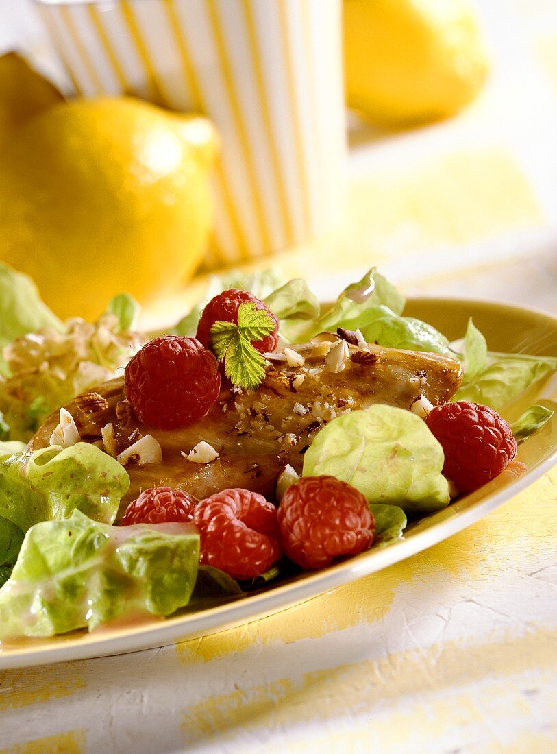 Chicken breast with oak leaf lettuce and raspberries