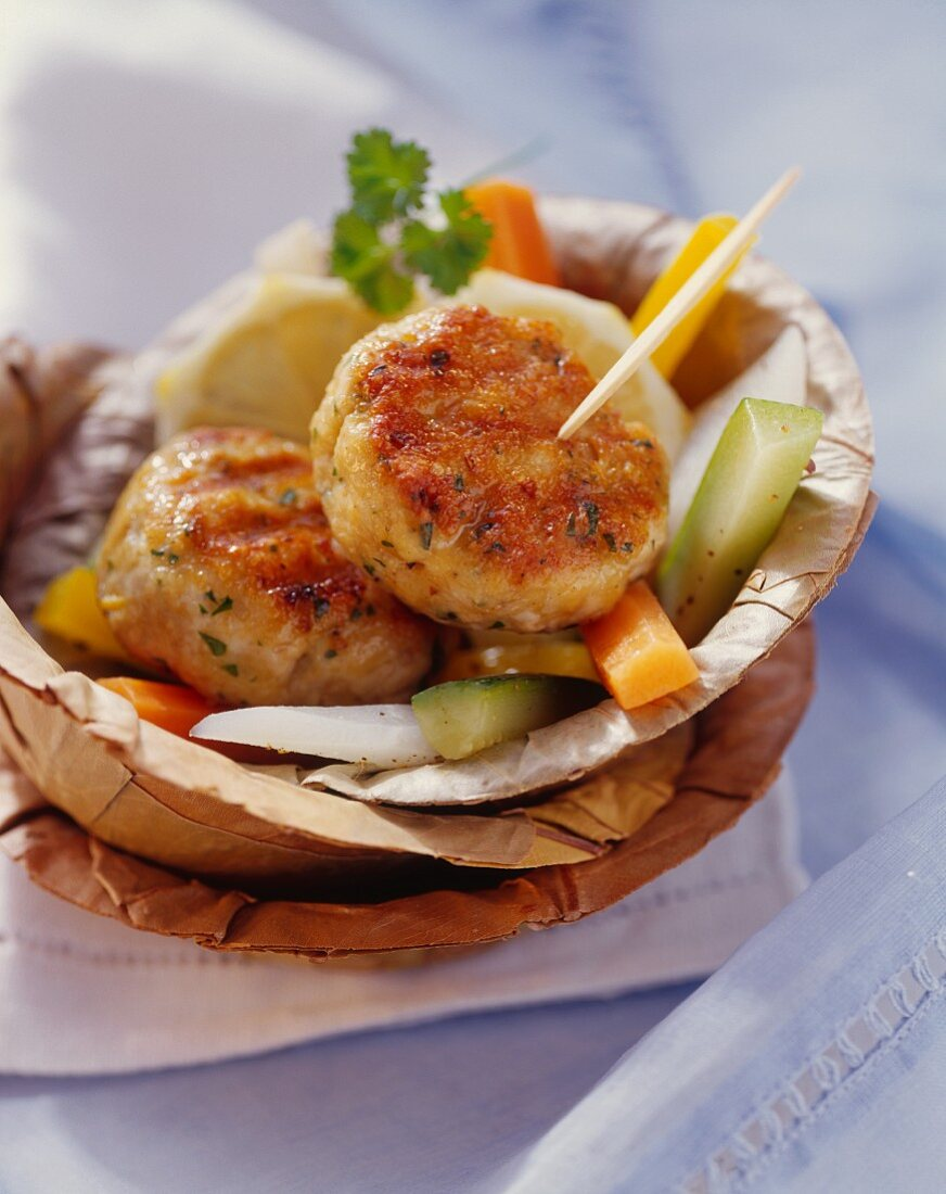 Turkey frikadellas with marinated vegetables