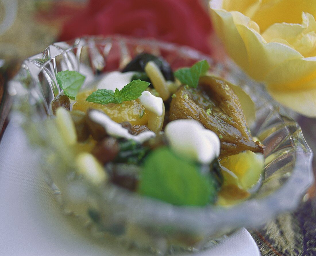 Dried fruit compote with crème fraiche (Yemen)