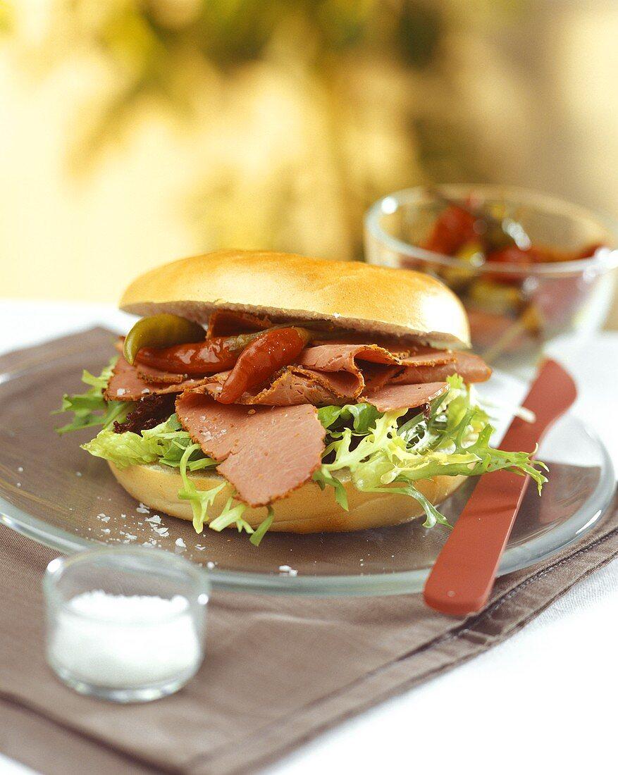 Sandwich with Pastirma ham and chilis