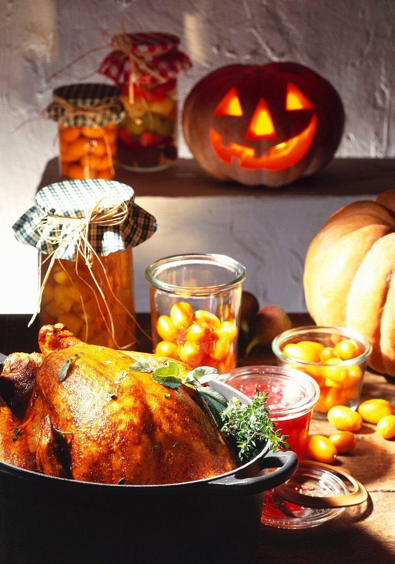 Roast turkey for Halloween