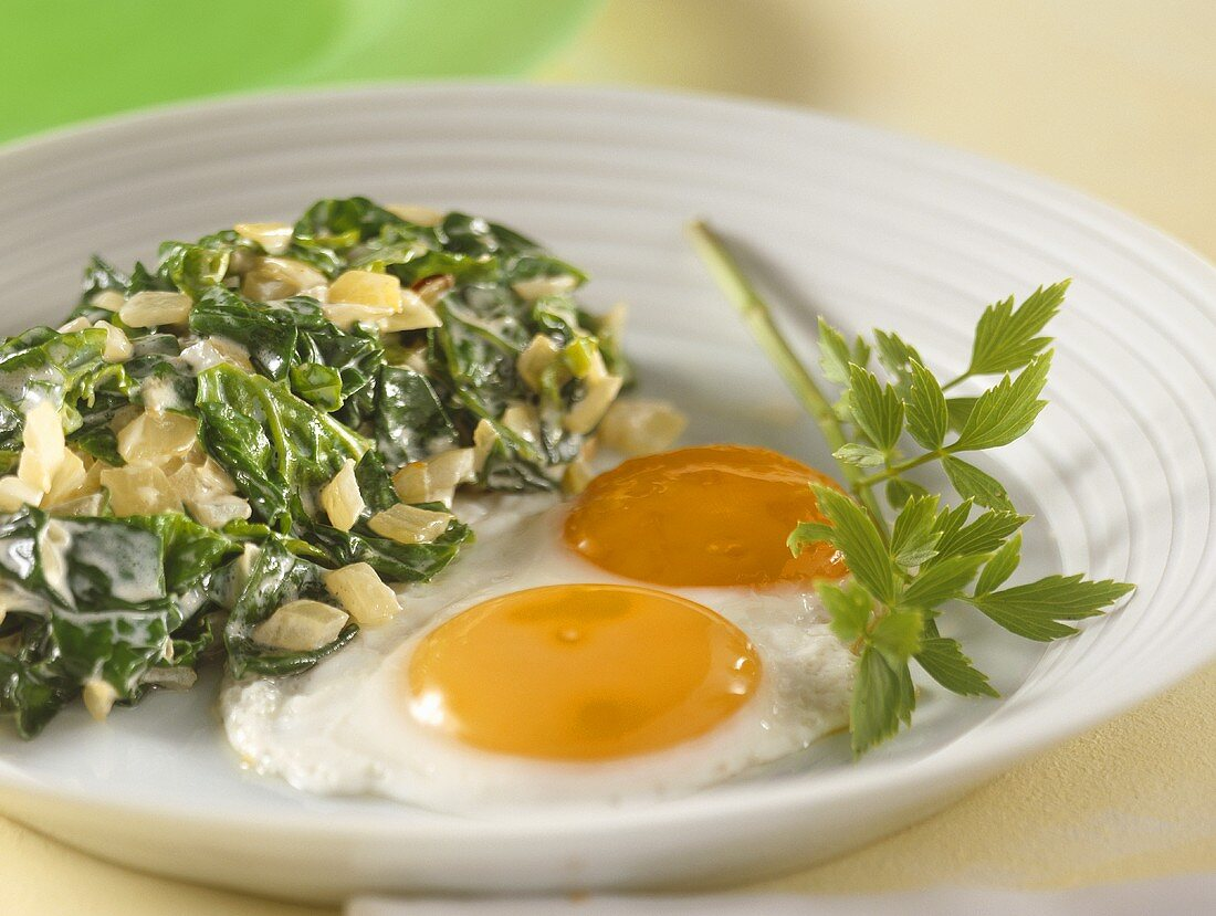 Chard with fried eggs