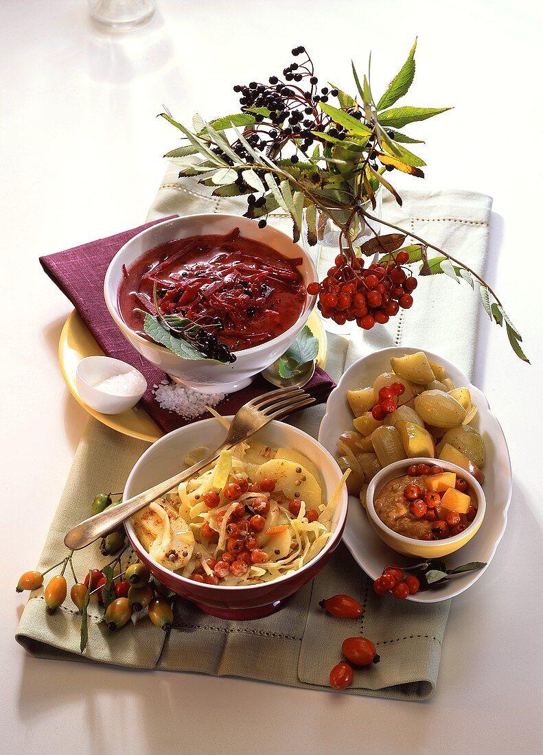 Savoury vegetable dishes with elderberries & rowan berries
