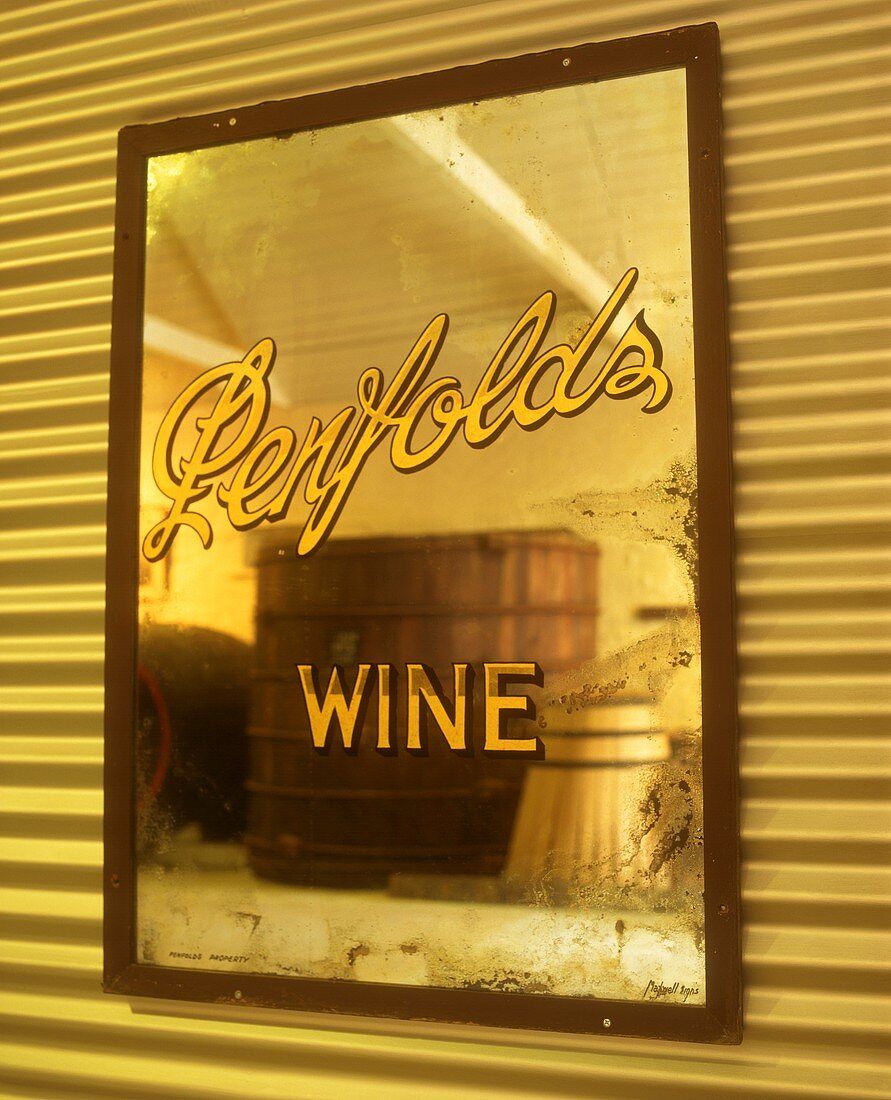 Mirror in wine cellar of Penfold's Winery, S. Australia