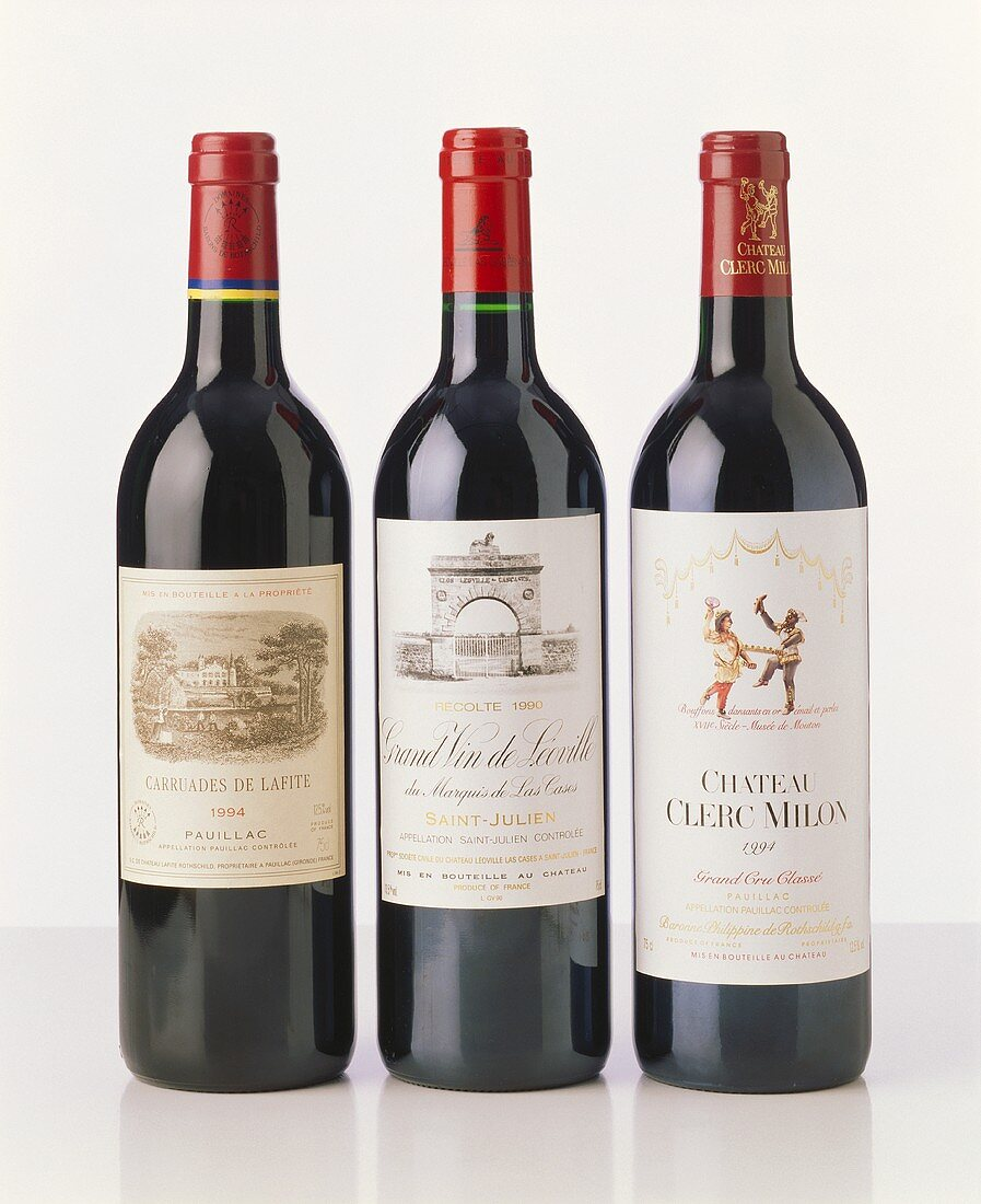 Three fine red wines from Bordeaux, France