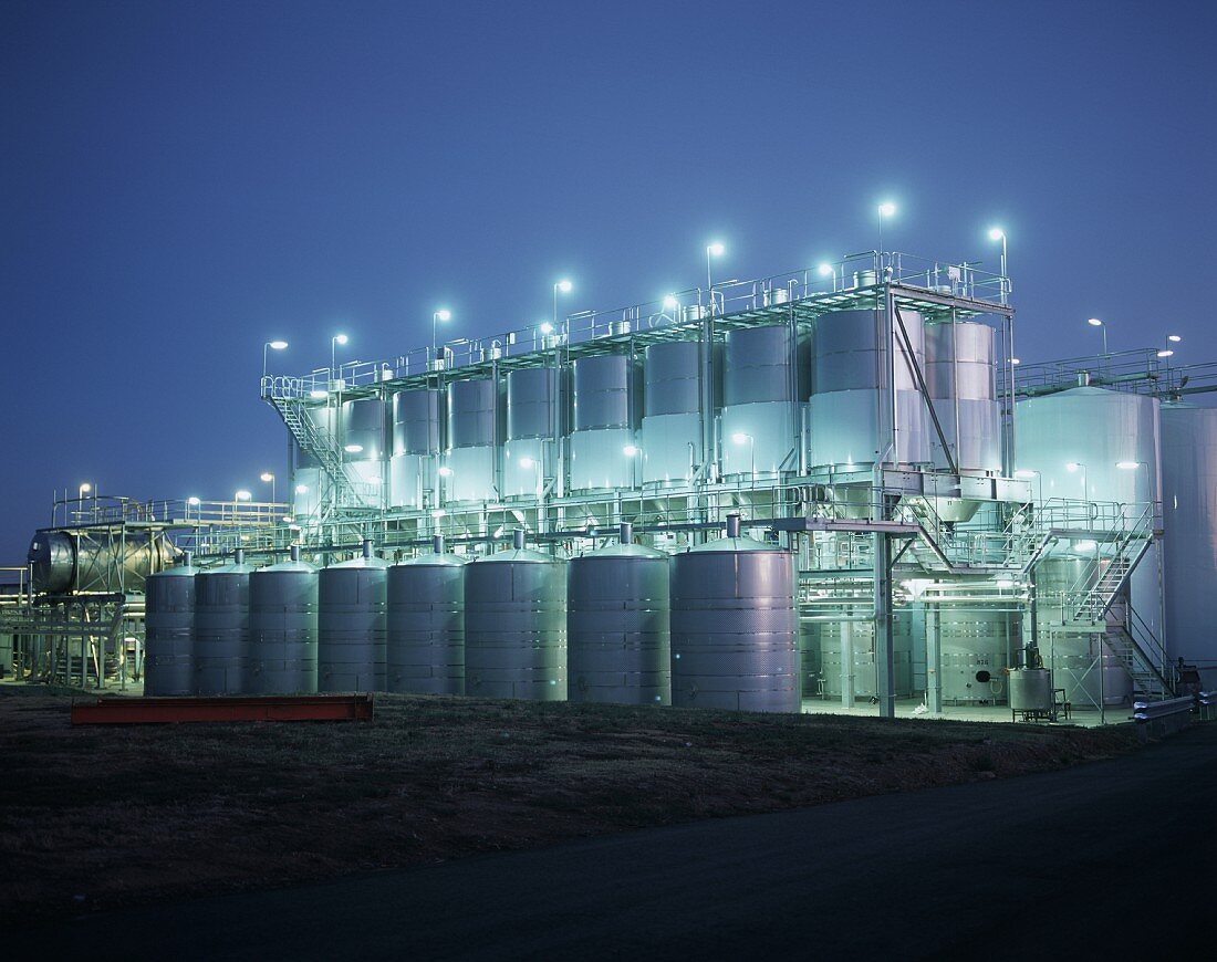 Wine tanks by night, Seppelt Winery, Victoria