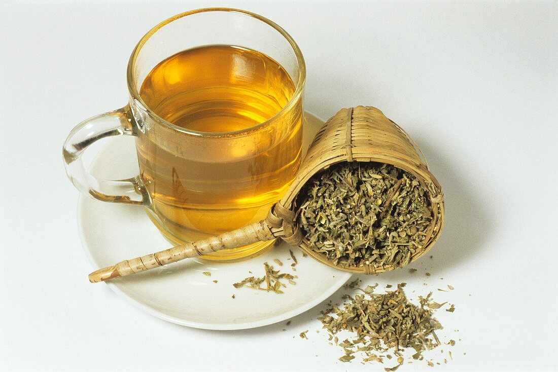 Damiana tea and dried herb (Tunera officinalis)