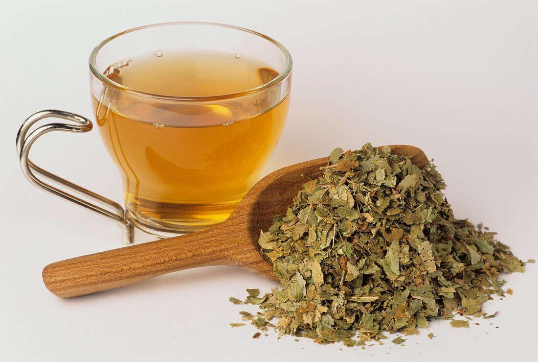 Bilberry leaf tea and leaves (Vaccinium myrtillus)