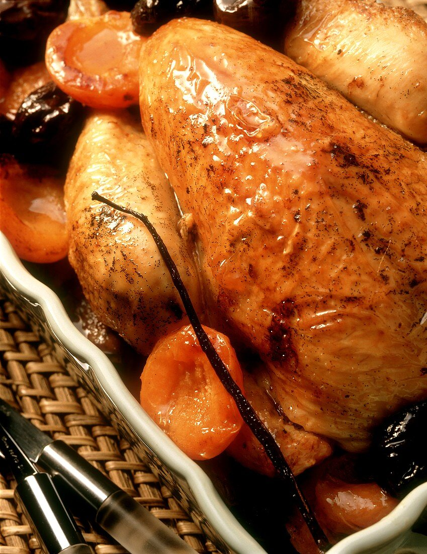 Roast chicken with plum and apricot stuffing