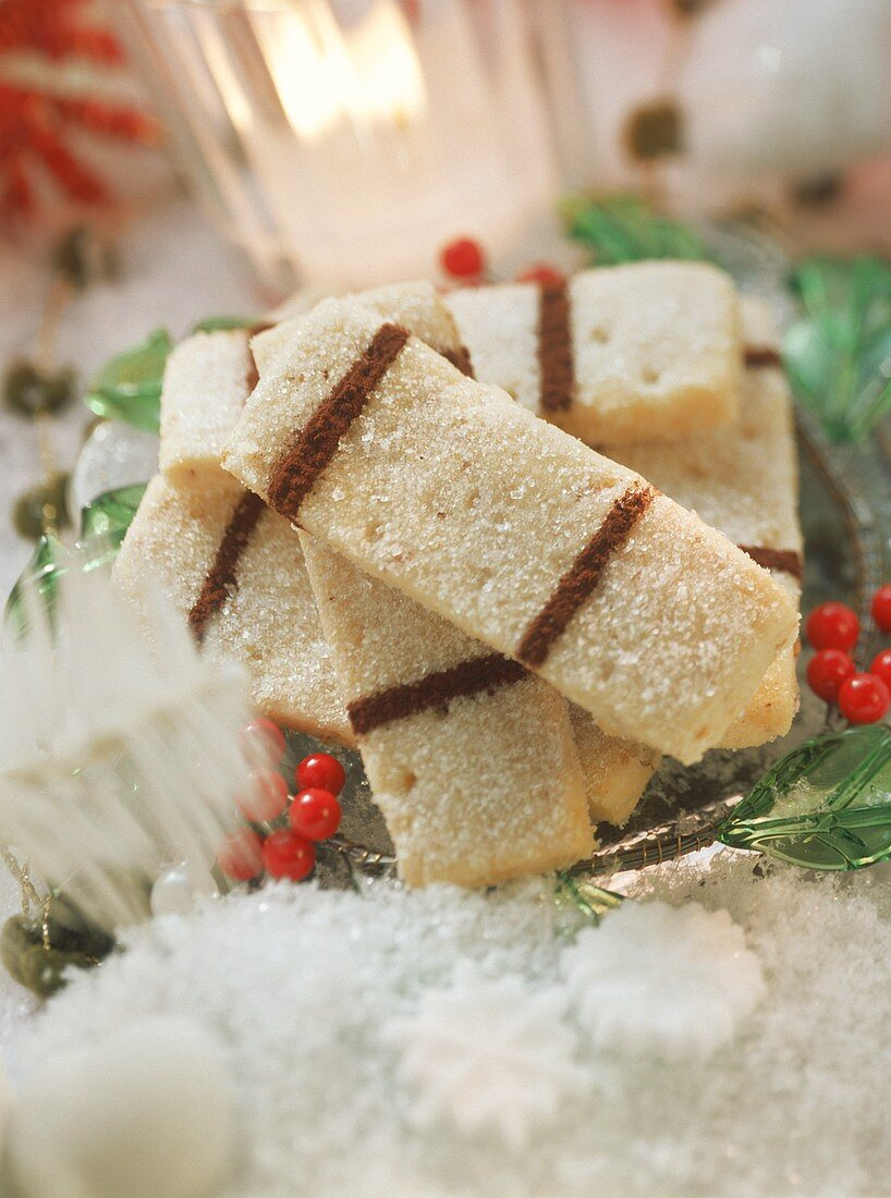English shortbread with sugar and cocoa decoration