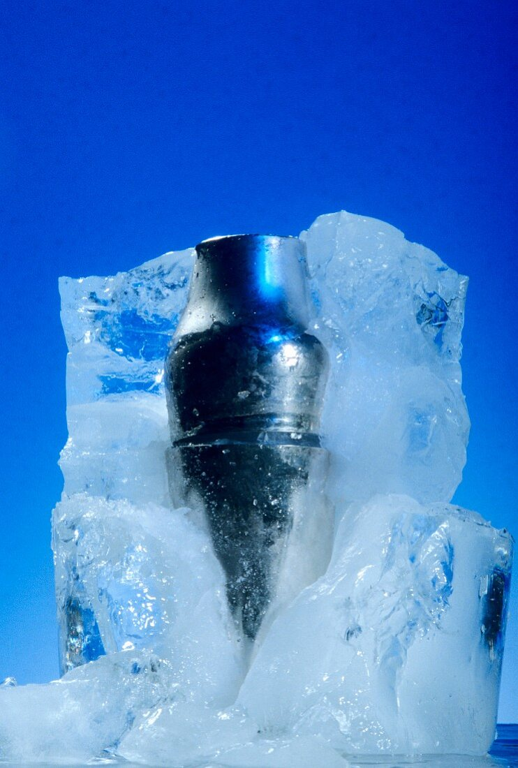 Cocktail shaker in block of ice