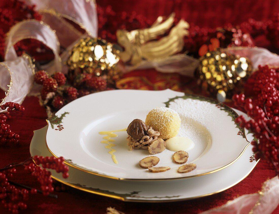 Quark dumplings with chestnut stuffing on Christmassy plate