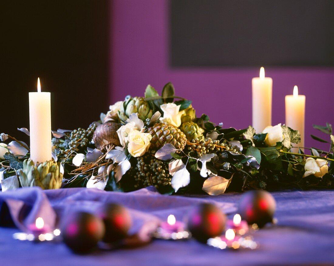 Festive flower arrangement as table or buffet decoration