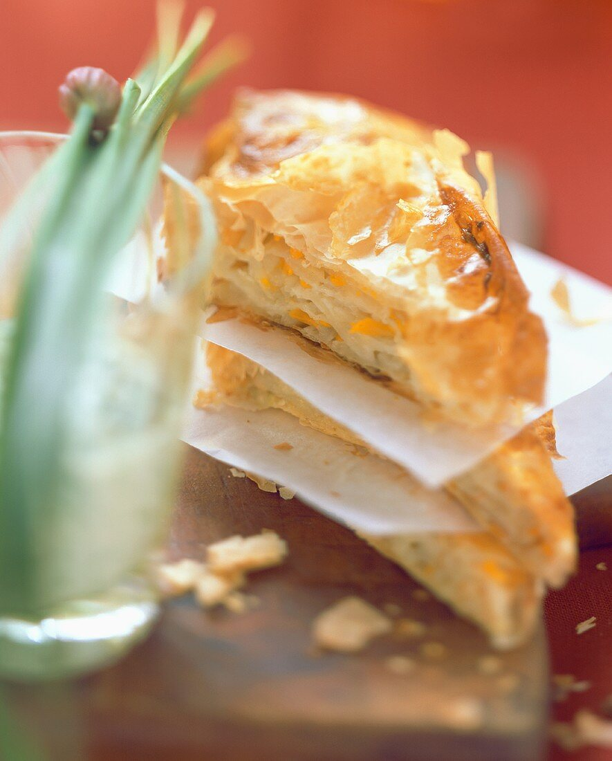 Strudel pastries with pumpkin and kohlrabi filling