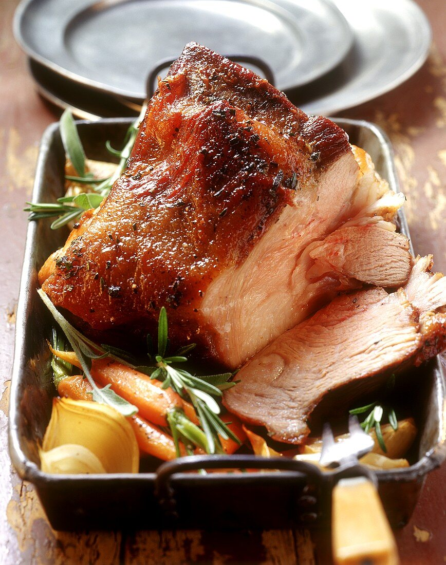 Bernese-style breast of veal in roasting dish (Switzerland)