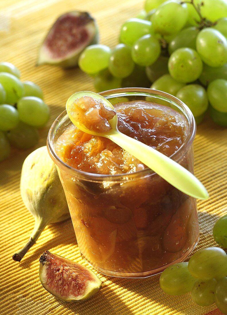 Grape and fig preserve in jar