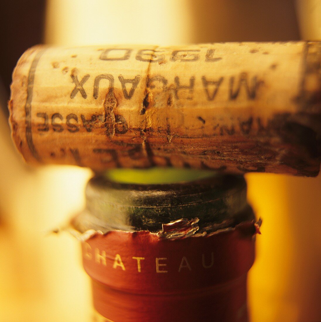 A bottle of 1990 Chateau Margaux with cork