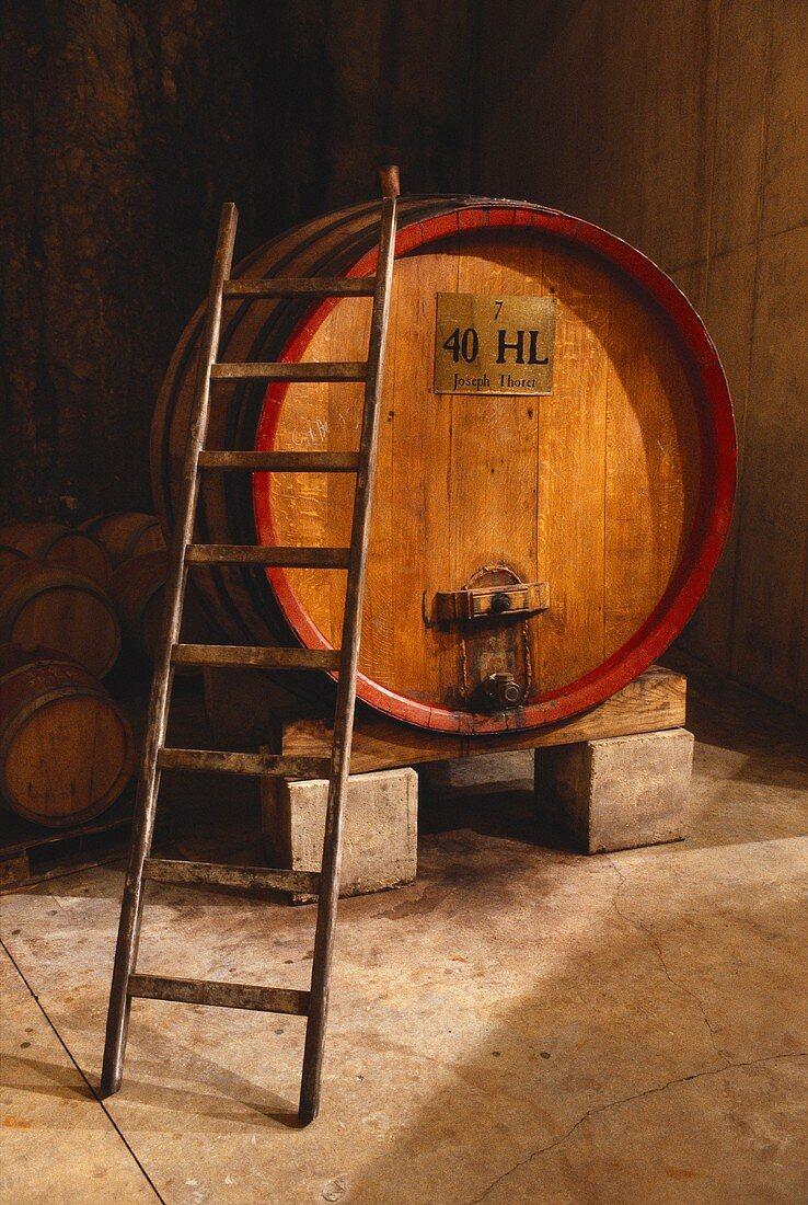 A 40 hectolitre wine barrel in wine cellar of Joseph Thoret